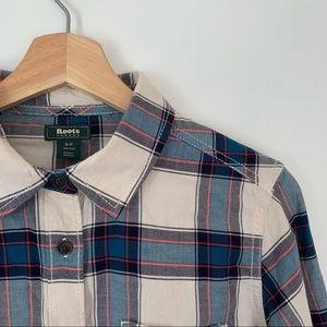 Roots | Plaid Button Down Top